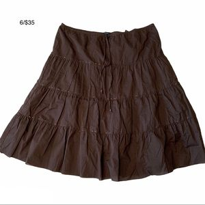 REITMAN'S brown cotton tiered lined beaded skirt